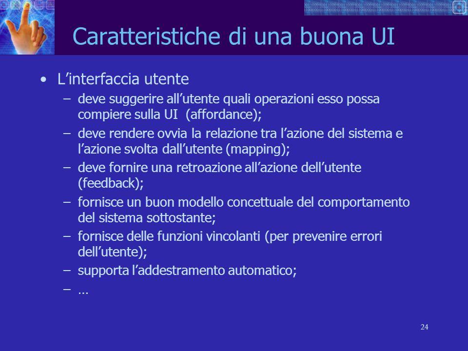24 Caratteristiche di una buona UI Linterfaccia utente –deve suggerire allutente quali operazioni esso possa compiere sulla UI (affordance); –deve ren