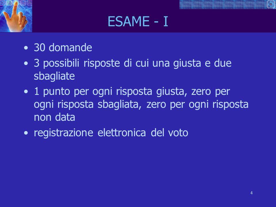 4 ESAME - I 30 domande 3 possibili risposte di cui una giusta e due sbagliate 1 punto per ogni risposta giusta, zero per ogni risposta sbagliata, zero per ogni risposta non data registrazione elettronica del voto