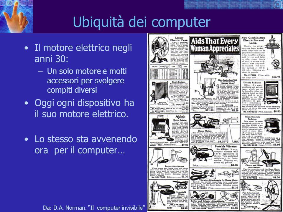 9 Ubiquità dei computer Il motore elettrico negli anni 30: –Un solo motore e molti accessori per svolgere compiti diversi Oggi ogni dispositivo ha il