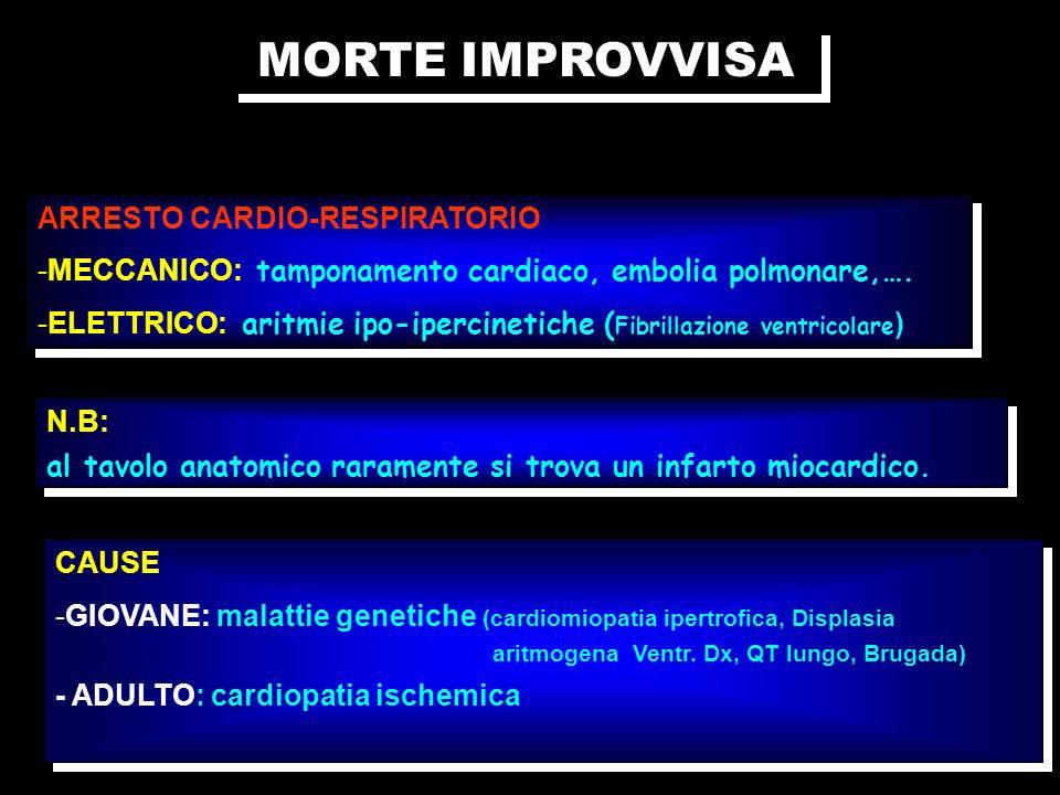 MORTE IMPROVVISA ARRESTO CARDIO-RESPIRATORIO -MECCANICO: tamponamento cardiaco, embolia polmonare,…. -ELETTRICO: aritmie ipo-ipercinetiche ( Fibrillaz