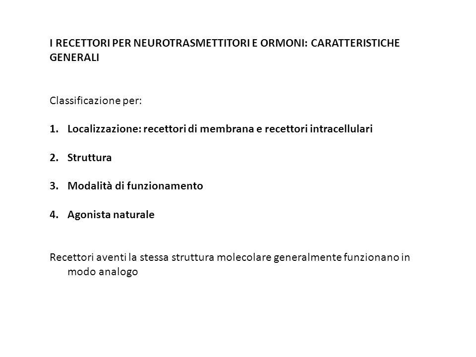 I RECETTORI PER NEUROTRASMETTITORI E ORMONI: CARATTERISTICHE GENERALI Classificazione per: 1.Localizzazione: recettori di membrana e recettori intrace