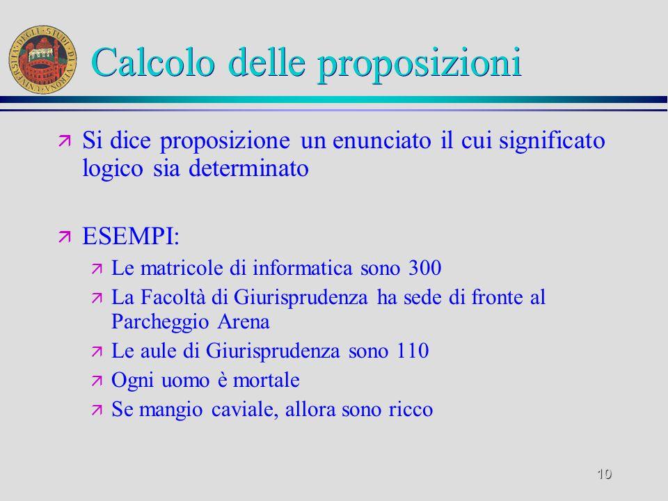 10 Calcolo delle proposizioni ä Si dice proposizione un enunciato il cui significato logico sia determinato ä ESEMPI: ä Le matricole di informatica so