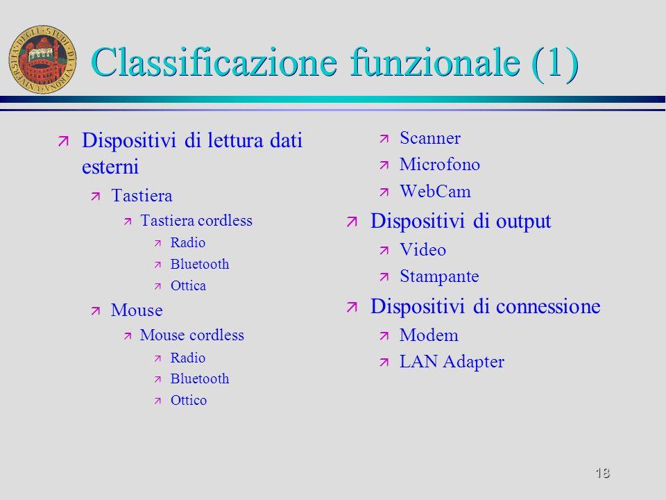 18 Classificazione funzionale (1) ä Dispositivi di lettura dati esterni ä Tastiera ä Tastiera cordless ä Radio ä Bluetooth ä Ottica ä Mouse ä Mouse co