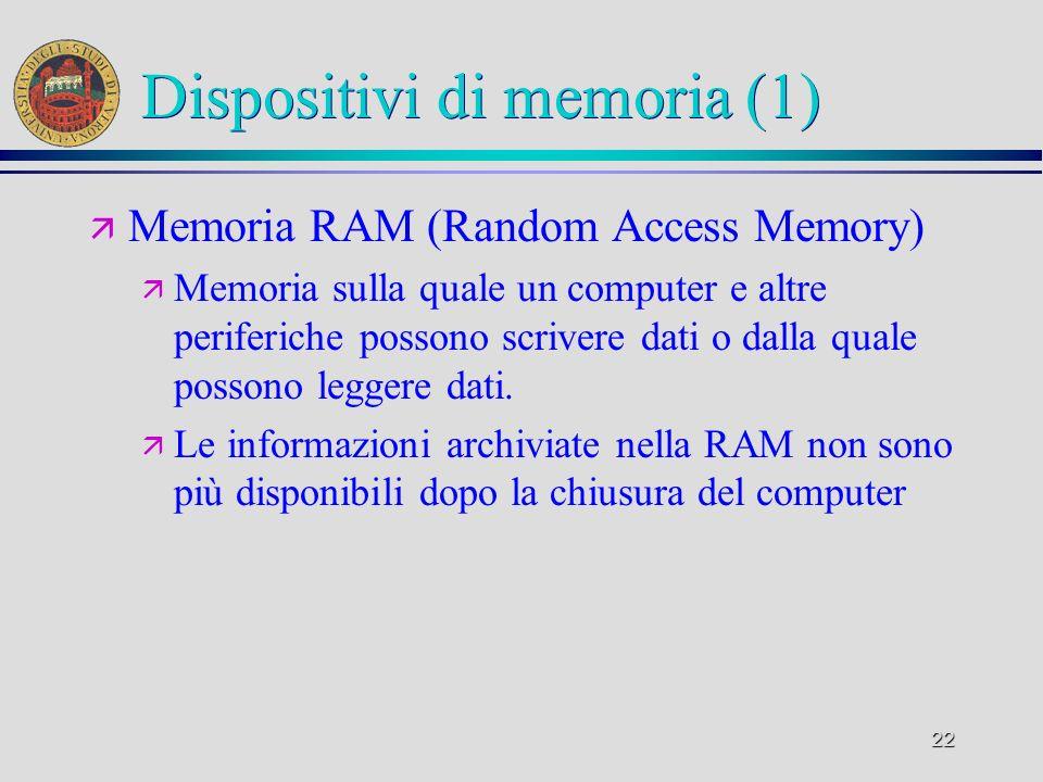 22 Dispositivi di memoria (1) ä Memoria RAM (Random Access Memory) ä Memoria sulla quale un computer e altre periferiche possono scrivere dati o dalla