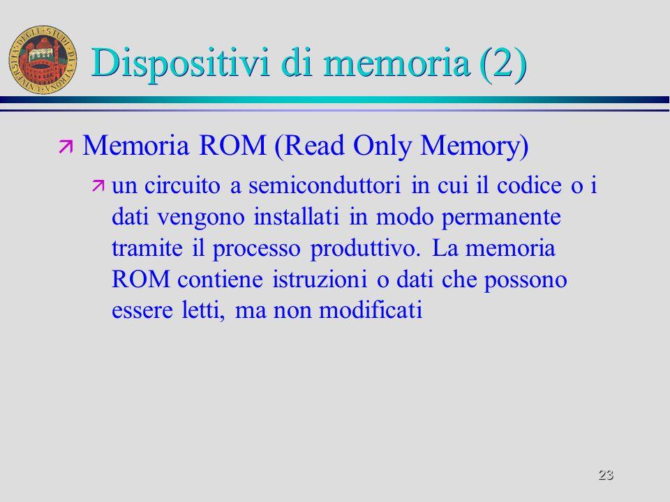 23 Dispositivi di memoria (2) ä Memoria ROM (Read Only Memory) ä un circuito a semiconduttori in cui il codice o i dati vengono installati in modo per