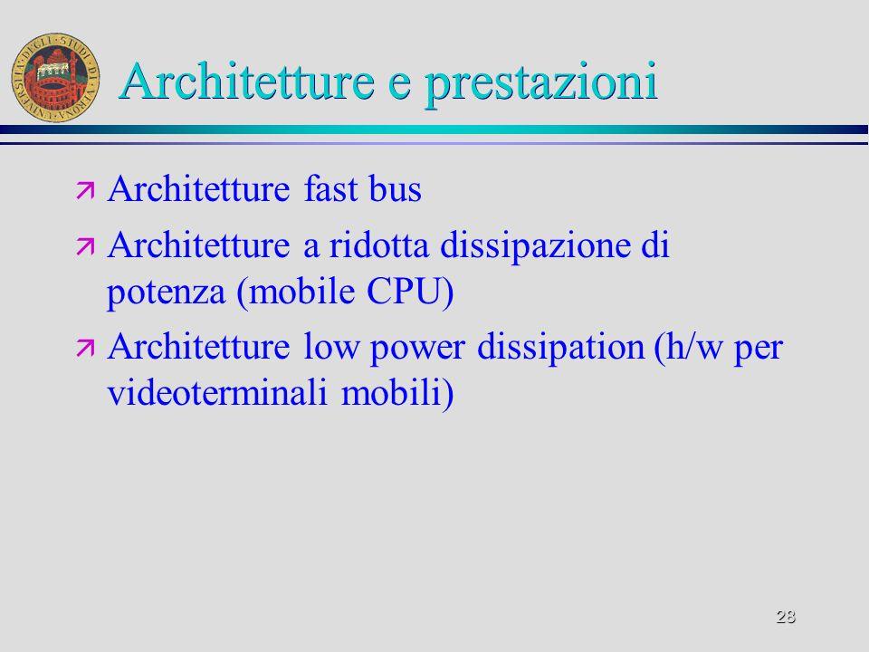 28 Architetture e prestazioni ä Architetture fast bus ä Architetture a ridotta dissipazione di potenza (mobile CPU) ä Architetture low power dissipati