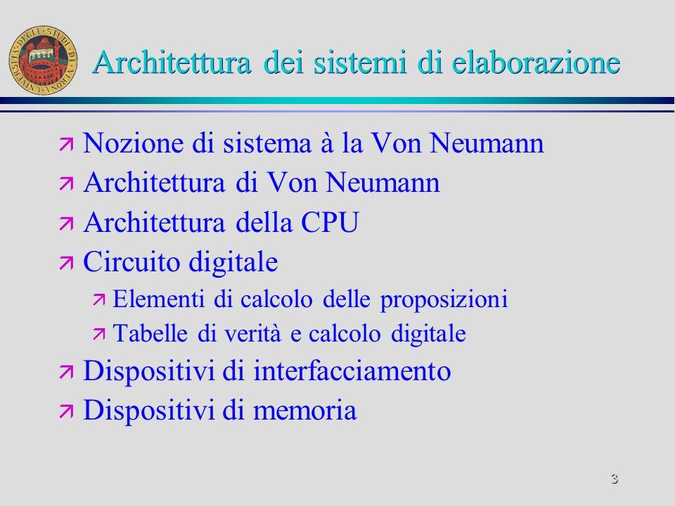3 Architettura dei sistemi di elaborazione ä Nozione di sistema à la Von Neumann ä Architettura di Von Neumann ä Architettura della CPU ä Circuito dig