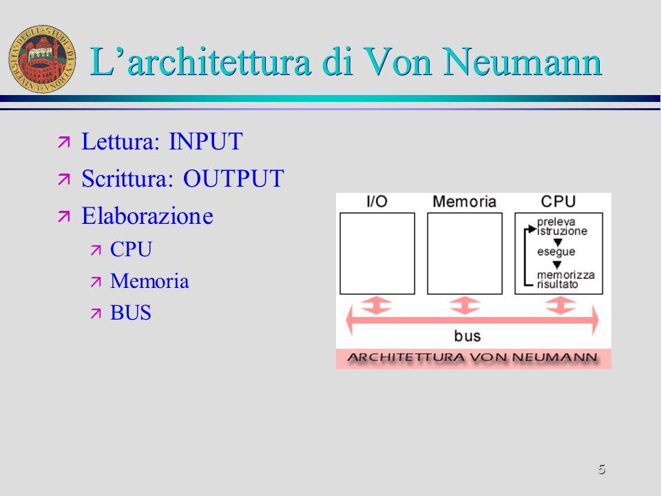 5 Larchitettura di Von Neumann ä Lettura: INPUT ä Scrittura: OUTPUT ä Elaborazione ä CPU ä Memoria ä BUS