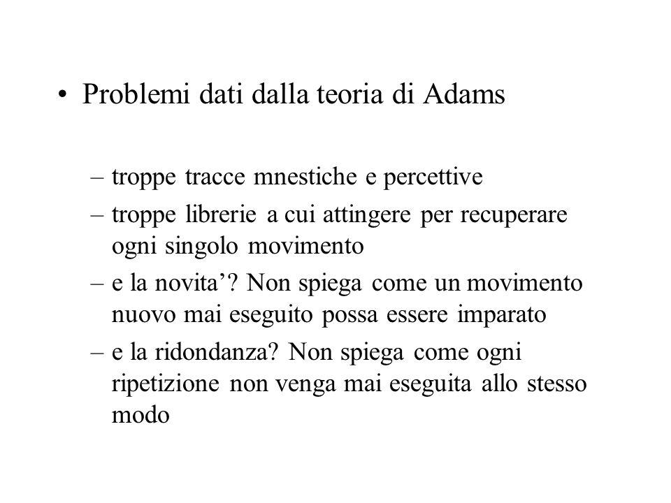 Problemi dati dalla teoria di Adams –troppe tracce mnestiche e percettive –troppe librerie a cui attingere per recuperare ogni singolo movimento –e la