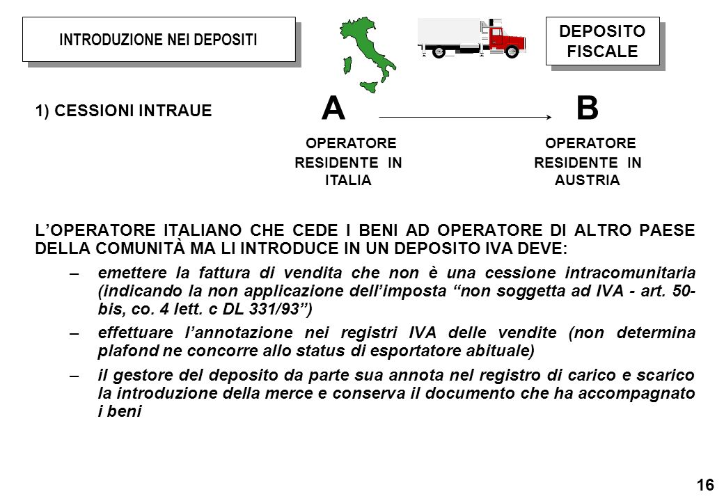 16 1) CESSIONI INTRAUE LOPERATORE ITALIANO CHE CEDE I BENI AD OPERATORE DI ALTRO PAESE DELLA COMUNITÀ MA LI INTRODUCE IN UN DEPOSITO IVA DEVE: –emette