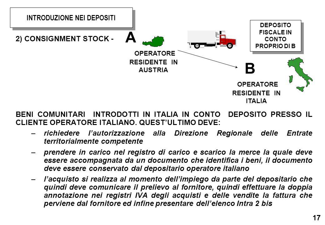 17 2) CONSIGNMENT STOCK - BENI COMUNITARI INTRODOTTI IN ITALIA IN CONTO DEPOSITO PRESSO IL CLIENTE OPERATORE ITALIANO. QUESTULTIMO DEVE: –richiedere l