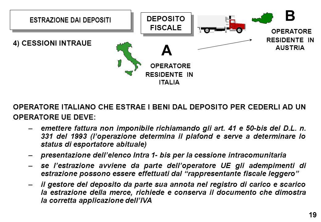 19 4) CESSIONI INTRAUE OPERATORE ITALIANO CHE ESTRAE I BENI DAL DEPOSITO PER CEDERLI AD UN OPERATORE UE DEVE: –emettere fattura non imponibile richiam