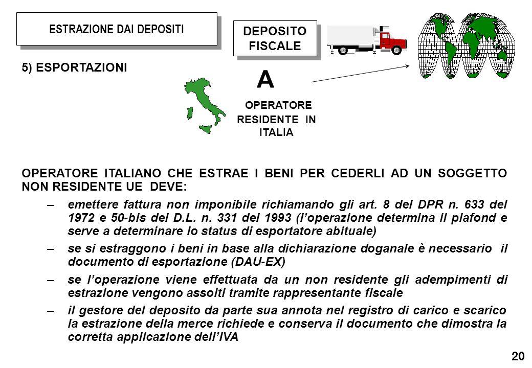 20 5) ESPORTAZIONI OPERATORE ITALIANO CHE ESTRAE I BENI PER CEDERLI AD UN SOGGETTO NON RESIDENTE UE DEVE: –emettere fattura non imponibile richiamando