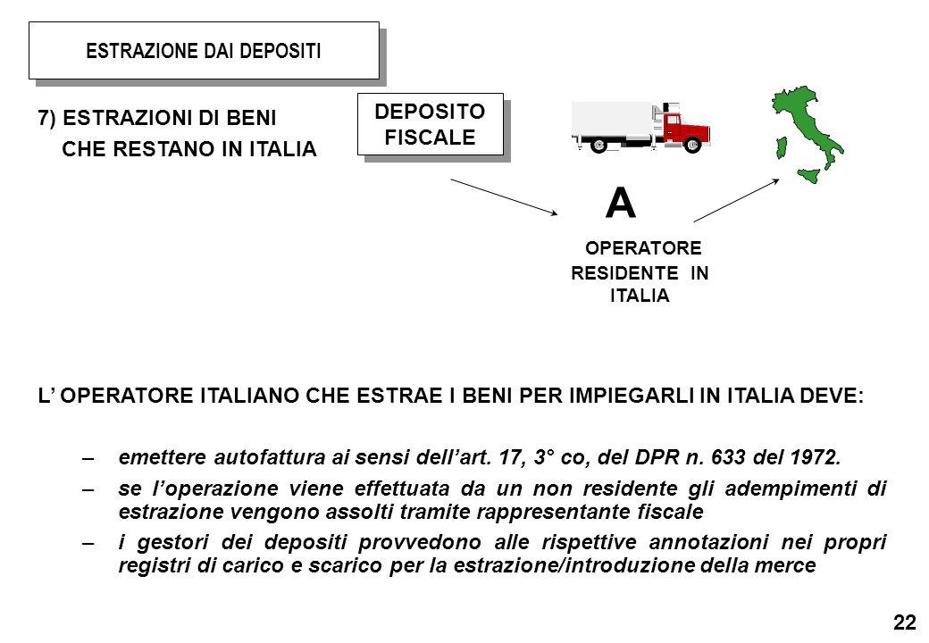22 7) ESTRAZIONI DI BENI CHE RESTANO IN ITALIA L OPERATORE ITALIANO CHE ESTRAE I BENI PER IMPIEGARLI IN ITALIA DEVE: –emettere autofattura ai sensi de