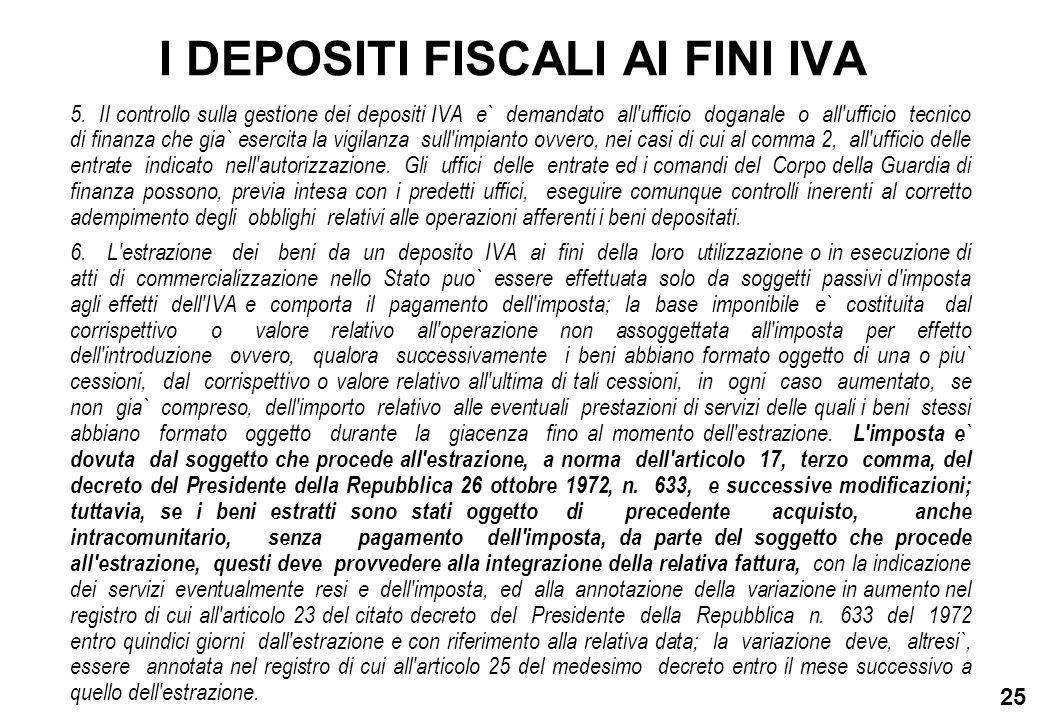 25 I DEPOSITI FISCALI AI FINI IVA 5. Il controllo sulla gestione dei depositi IVA e` demandato all'ufficio doganale o all'ufficio tecnico di finanza c