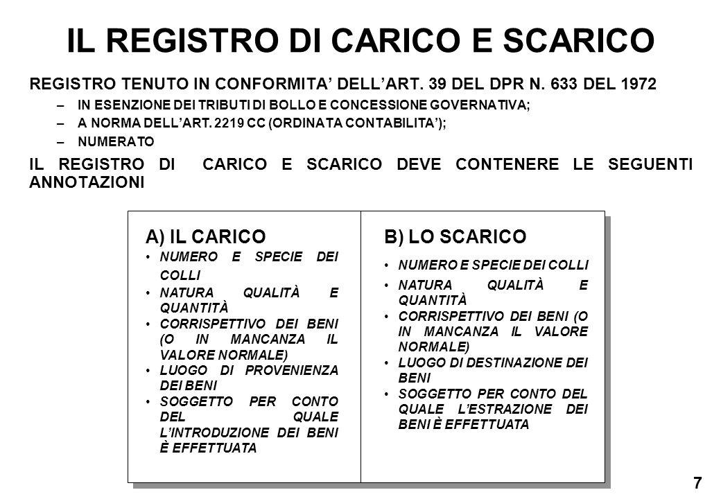 7 IL REGISTRO DI CARICO E SCARICO REGISTRO TENUTO IN CONFORMITA DELLART. 39 DEL DPR N. 633 DEL 1972 –IN ESENZIONE DEI TRIBUTI DI BOLLO E CONCESSIONE G