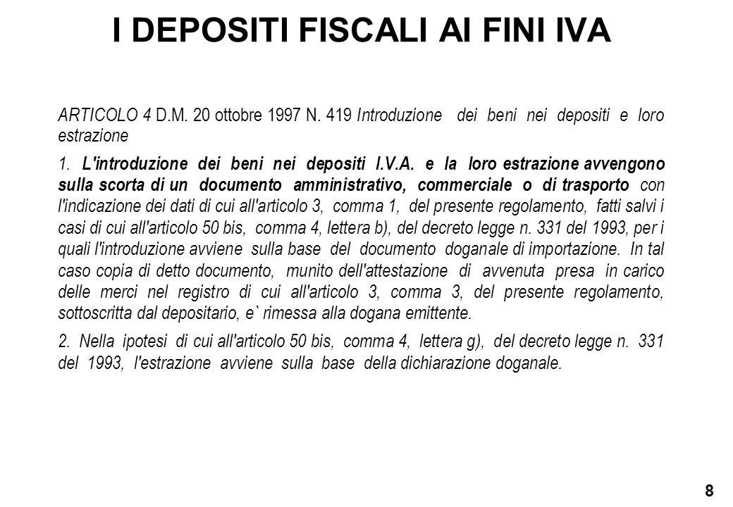 8 I DEPOSITI FISCALI AI FINI IVA ARTICOLO 4 D.M. 20 ottobre 1997 N. 419 Introduzione dei beni nei depositi e loro estrazione 1. L'introduzione dei ben
