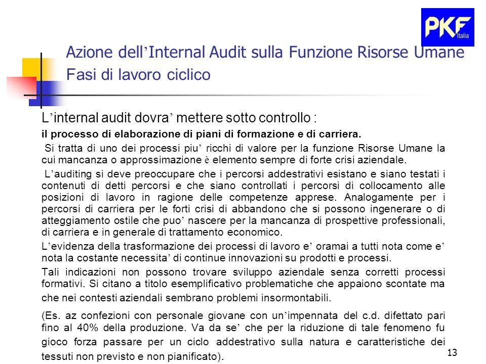 13 Azione dell Internal Audit sulla Funzione Risorse Umane Fasi di lavoro ciclico L internal audit dovra mettere sotto controllo : il processo di elab