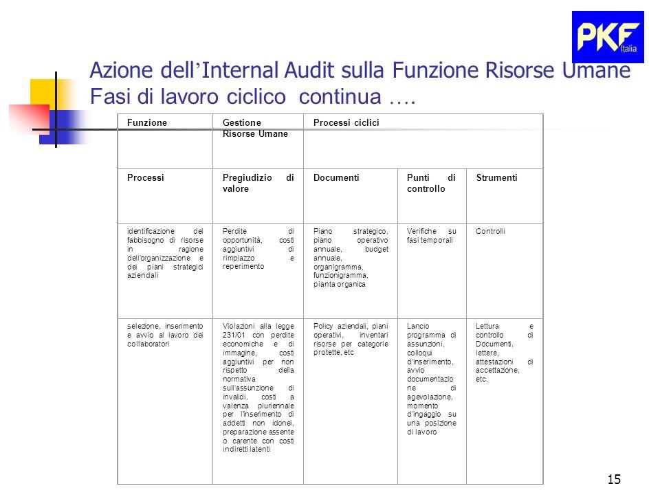 15 Azione dell Internal Audit sulla Funzione Risorse Umane Fasi di lavoro ciclico continua …. FunzioneGestione Risorse Umane Processi ciclici Processi