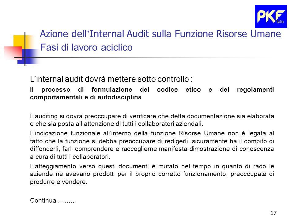 17 Azione dell Internal Audit sulla Funzione Risorse Umane Fasi di lavoro aciclico Linternal audit dovrà mettere sotto controllo : il processo di form