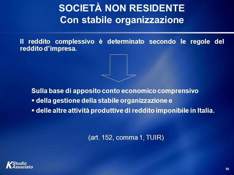 10 SOCIETÀ NON RESIDENTE Con stabile organizzazione Il reddito complessivo è determinato secondo le regole del reddito dimpresa. Sulla base di apposit