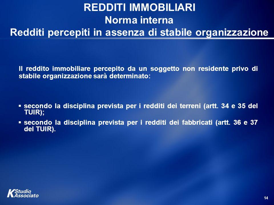 14 REDDITI IMMOBILIARI Norma interna Redditi percepiti in assenza di stabile organizzazione Il reddito immobiliare percepito da un soggetto non reside