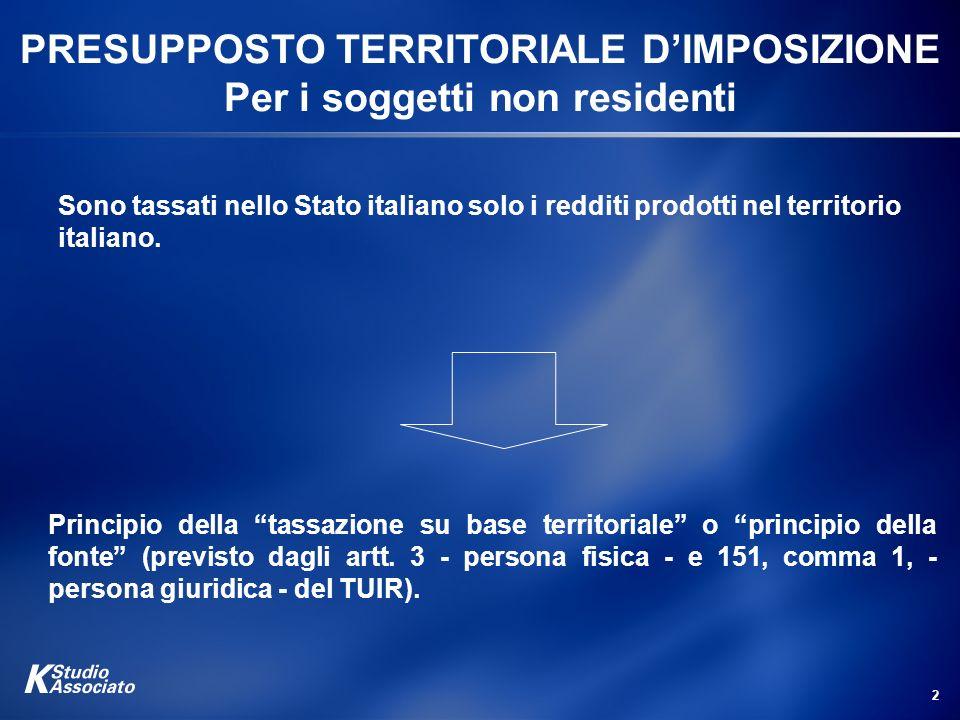 2 PRESUPPOSTO TERRITORIALE DIMPOSIZIONE Per i soggetti non residenti Principio della tassazione su base territoriale o principio della fonte (previsto