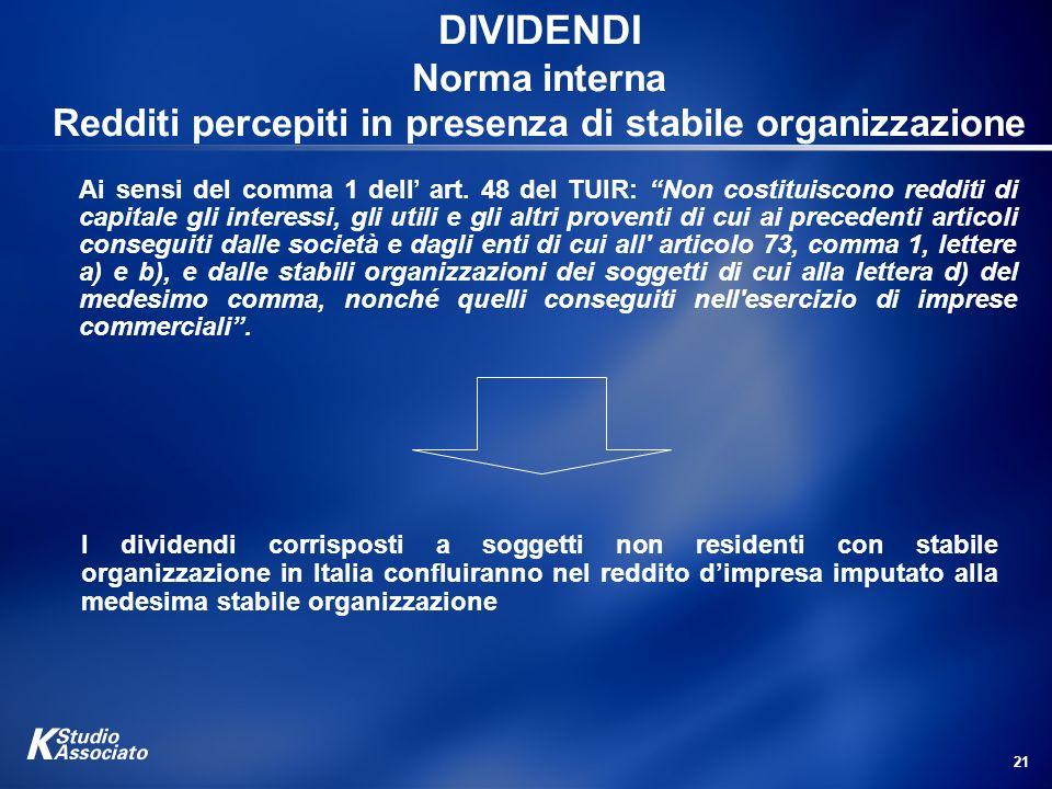 21 DIVIDENDI Norma interna Redditi percepiti in presenza di stabile organizzazione I dividendi corrisposti a soggetti non residenti con stabile organi