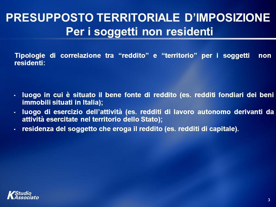 3 PRESUPPOSTO TERRITORIALE DIMPOSIZIONE Per i soggetti non residenti luogo in cui è situato il bene fonte di reddito (es. redditi fondiari dei beni im