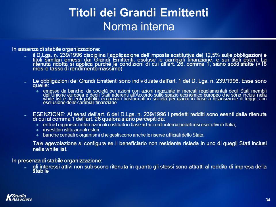 34 Titoli dei Grandi Emittenti Norma interna In assenza di stabile organizzazione: il D.Lgs. n. 239/1996 disciplina lapplicazione dellimposta sostitut