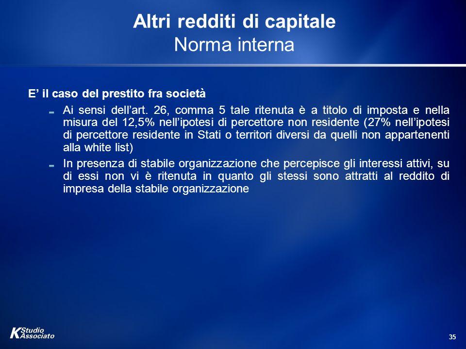 35 Altri redditi di capitale Norma interna E il caso del prestito fra società Ai sensi dellart. 26, comma 5 tale ritenuta è a titolo di imposta e nell