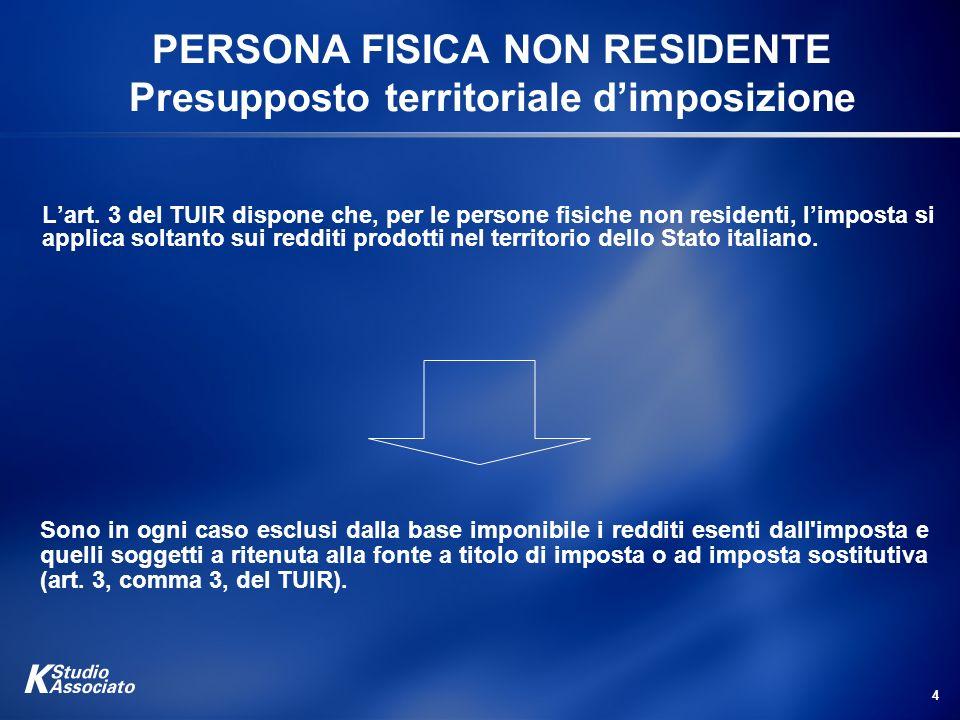 4 PERSONA FISICA NON RESIDENTE Presupposto territoriale dimposizione Sono in ogni caso esclusi dalla base imponibile i redditi esenti dall'imposta e q