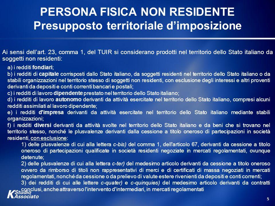 5 PERSONA FISICA NON RESIDENTE Presupposto territoriale dimposizione Ai sensi dellart. 23, comma 1, del TUIR si considerano prodotti nel territorio de