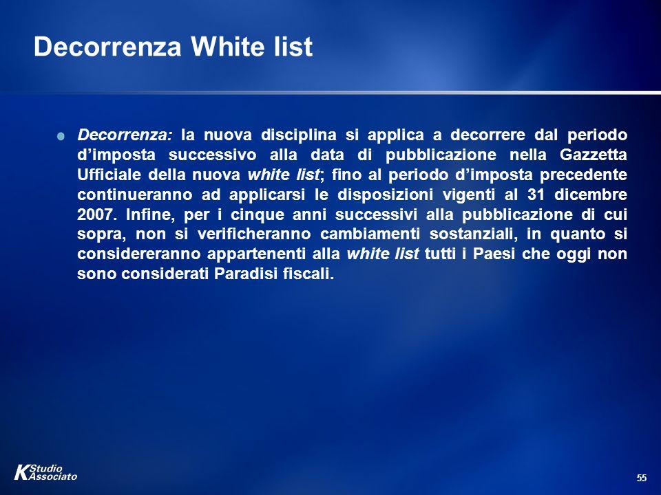 55 Decorrenza White list Decorrenza: la nuova disciplina si applica a decorrere dal periodo dimposta successivo alla data di pubblicazione nella Gazze