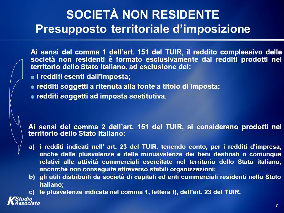 7 SOCIETÀ NON RESIDENTE Presupposto territoriale dimposizione Ai sensi del comma 1 dellart. 151 del TUIR, il reddito complessivo delle società non res