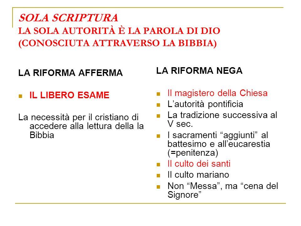 SOLA SCRIPTURA LA SOLA AUTORITÀ È LA PAROLA DI DIO (CONOSCIUTA ATTRAVERSO LA BIBBIA) LA RIFORMA AFFERMA IL LIBERO ESAME La necessità per il cristiano