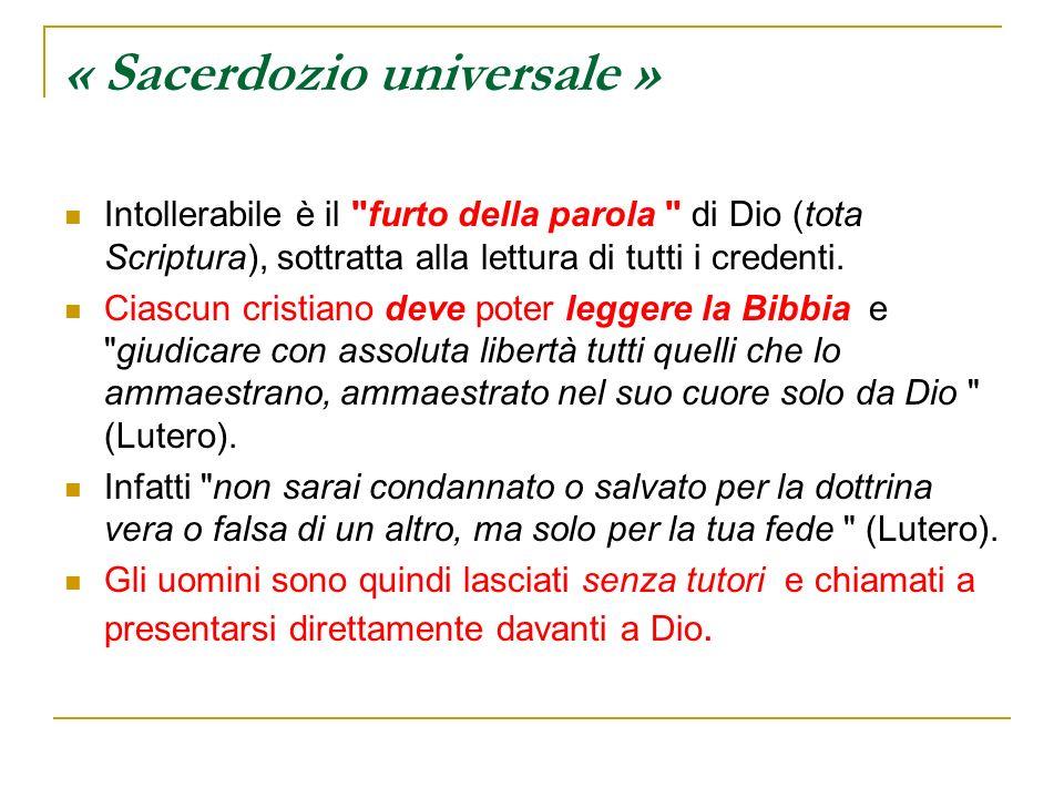 « Sacerdozio universale » Intollerabile è il