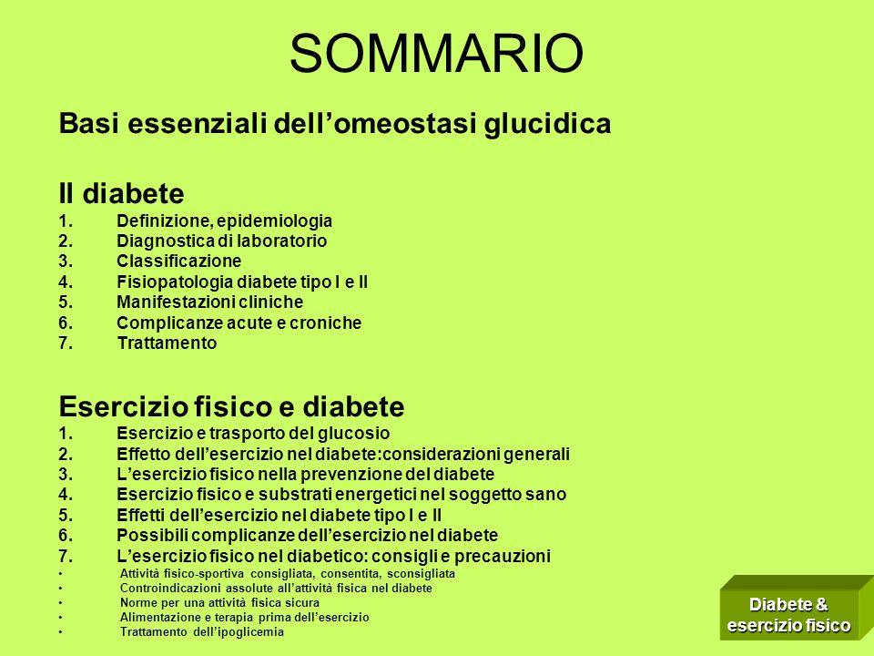 SOMMARIO Basi essenziali dellomeostasi glucidica Il diabete 1.Definizione, epidemiologia 2.Diagnostica di laboratorio 3.Classificazione 4.Fisiopatolog