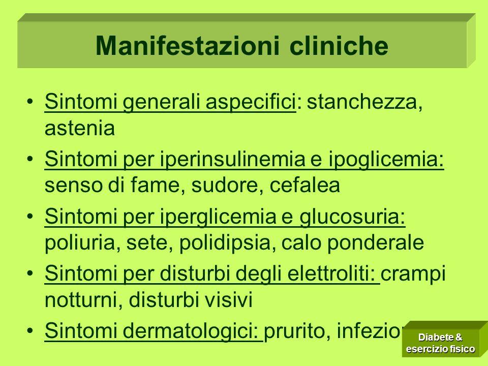 Sintomi Sintomi generali aspecifici: stanchezza, astenia Sintomi per iperinsulinemia e ipoglicemia: senso di fame, sudore, cefalea Sintomi per ipergli