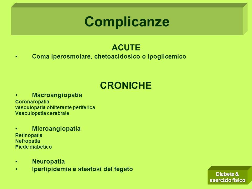 Complicanze: ACUTE Coma iperosmolare, chetoacidosico o ipoglicemico CRONICHE Macroangiopatia Coronaropatia vasculopatia obliterante periferica Vasculo