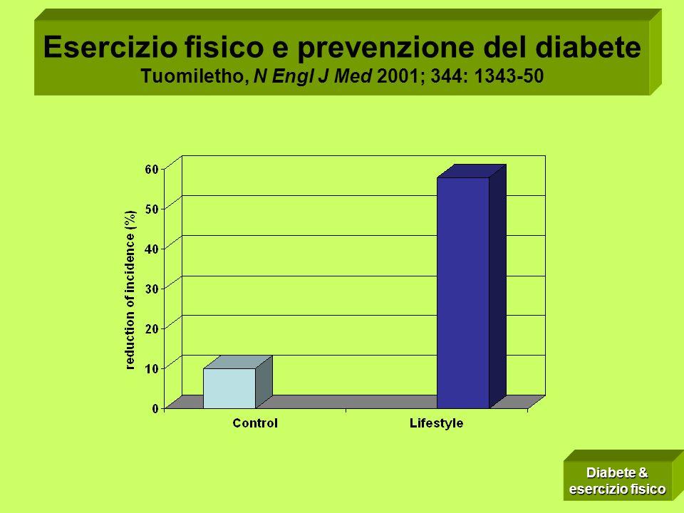 Esercizio fisico e prevenzione del diabete Tuomiletho, N Engl J Med 2001; 344: 1343-50 Diabete & esercizio fisico
