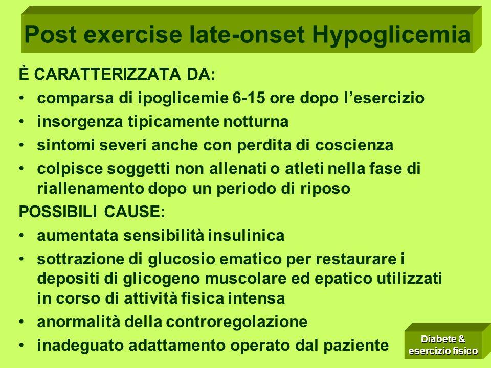 POST-EXERCISE LATE-ONSET HYPOGLICEMIA È CARATTERIZZATA DA: comparsa di ipoglicemie 6-15 ore dopo lesercizio insorgenza tipicamente notturna sintomi se