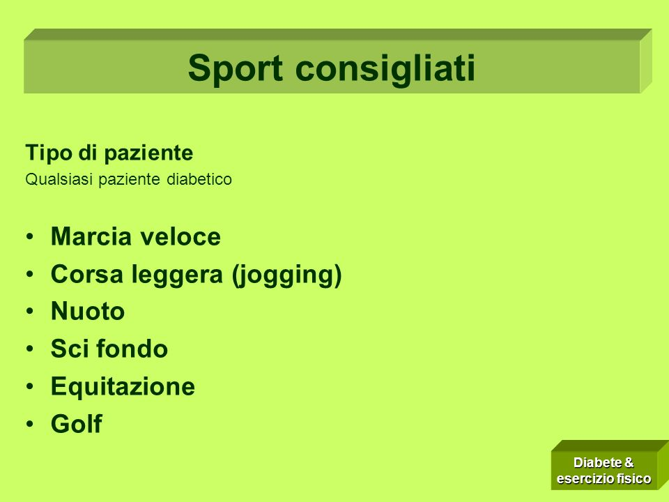 Tipo di paziente Qualsiasi paziente diabetico Marcia veloce Corsa leggera (jogging) Nuoto Sci fondo Equitazione Golf Sport consigliati Diabete & esercizio fisico