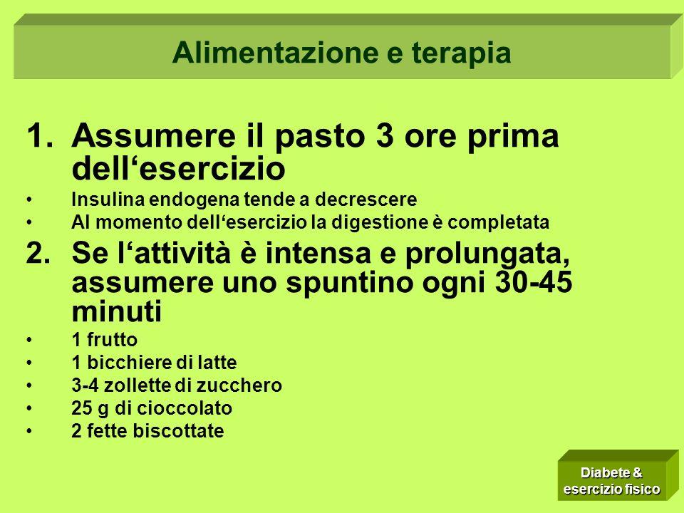 1.Assumere il pasto 3 ore prima dellesercizio Insulina endogena tende a decrescere Al momento dellesercizio la digestione è completata 2.Se lattività