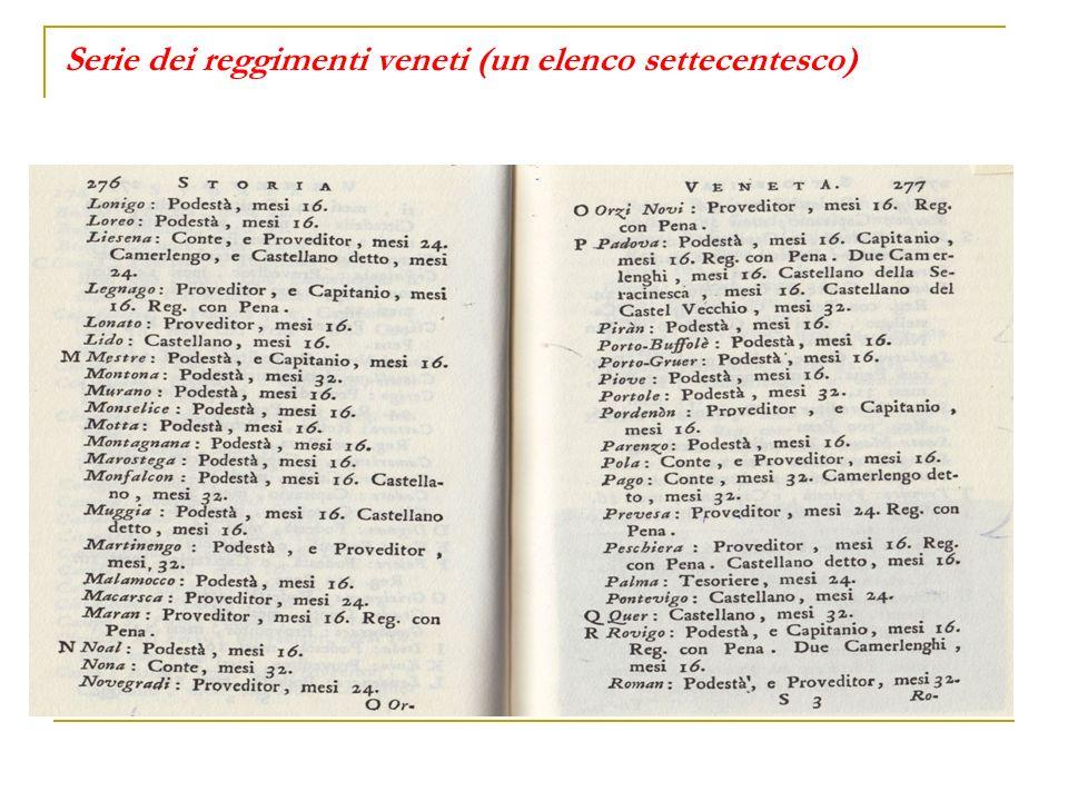 Serie dei reggimenti veneti (un elenco settecentesco)