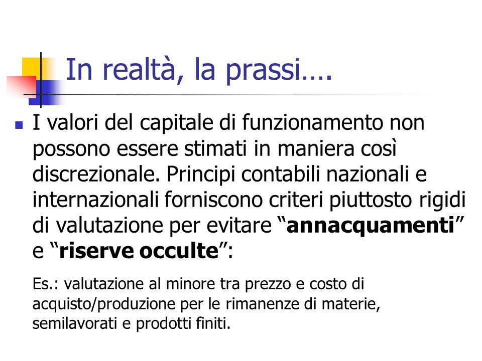 In realtà, la prassi…. I valori del capitale di funzionamento non possono essere stimati in maniera così discrezionale. Principi contabili nazionali e
