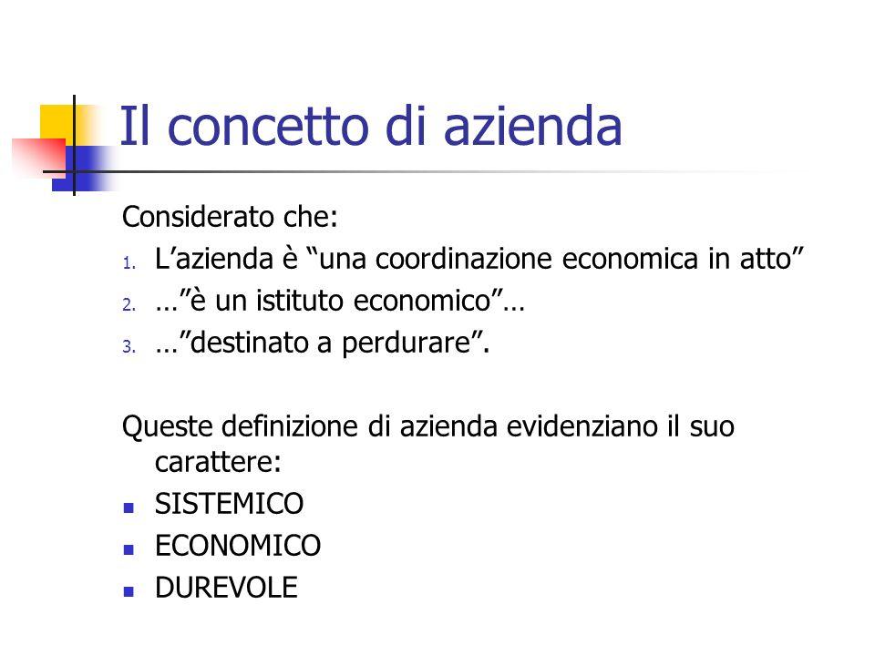 Il concetto di azienda Considerato che: 1. Lazienda è una coordinazione economica in atto 2. …è un istituto economico… 3. …destinato a perdurare. Ques