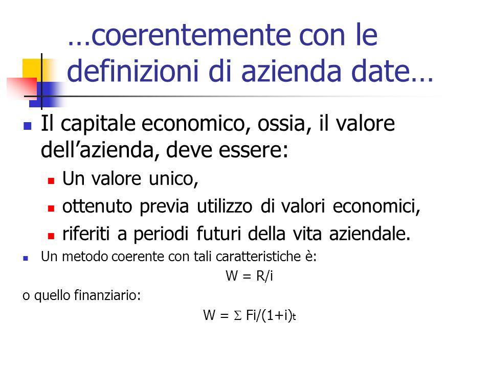 …coerentemente con le definizioni di azienda date… Il capitale economico, ossia, il valore dellazienda, deve essere: Un valore unico, ottenuto previa