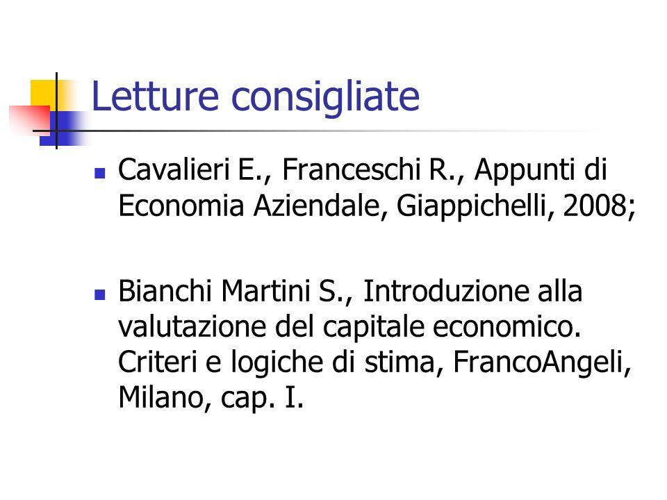Letture consigliate Cavalieri E., Franceschi R., Appunti di Economia Aziendale, Giappichelli, 2008; Bianchi Martini S., Introduzione alla valutazione