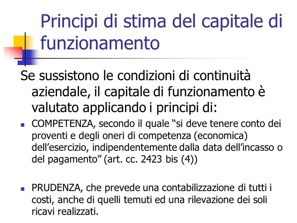 Principi di stima del capitale di funzionamento Se sussistono le condizioni di continuità aziendale, il capitale di funzionamento è valutato applicand